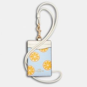 Coach ID Lanyard with Orange Print